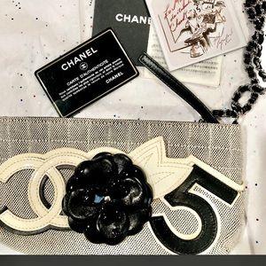 CHANEL No.5 Camellia Canvas Pochette Bag